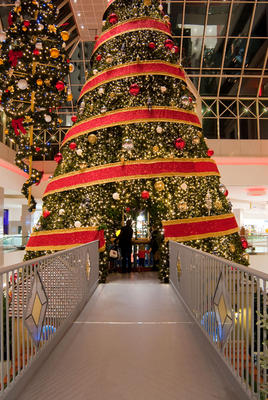 Giant tree with Christmas village