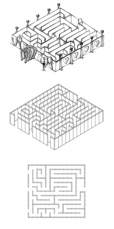 Labyrinthe en 12 pièces