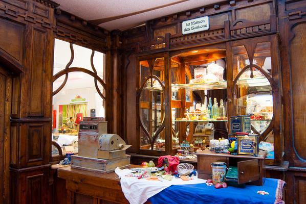 Decor van de nostalgische snoepwinkel